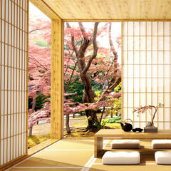 Fototapeta interior design,modern living room with table,wood floor and tatami mat and traditional japanese door on best window view ,was designed specifically in Japanese style, 3d illustration, 3d rendering