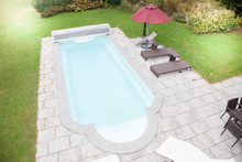 Laying Old Paving Around A Swimming Pool