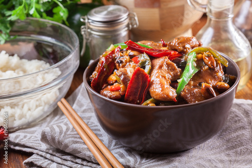 Homemade Kung Pao chicken with peppers and vegetables Canvas Print