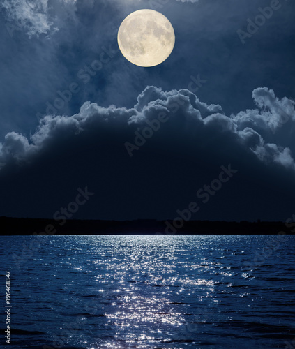 Fototapety, obrazy: moon over clouds and river with reflections