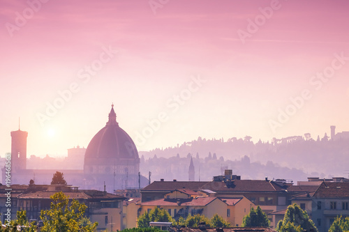 Poster Rose clair / pale Top view of the city of Florence at sunset, Italy, Toscana
