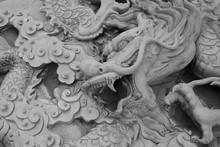 Old Chinese Dragon Stone By Carve
