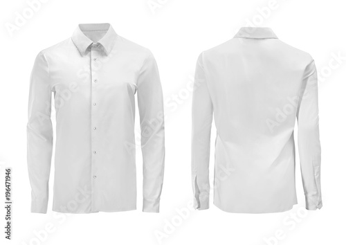Carta da parati White color formal shirt with button down collar isolated on white