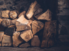 Stack Of Logs In Fireplace