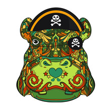 Face Of Pirate Ornamental Hippo With Skull On Pirate Hat, Vector Line Art Illustration Isolated On White Background