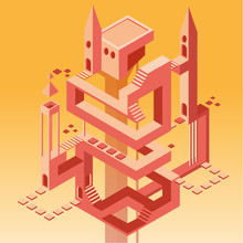 Tower With Many Ways, Doors And Stairs, Two Towers, Vector Flat Cartoon Illustration Isolated On Yellow Sand Gradient Background, Isometric Vector Picture