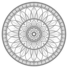 Round Black And White Floral Mandala For Coloring Book
