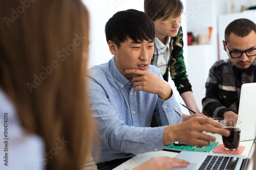 Multiethnic business people working in office