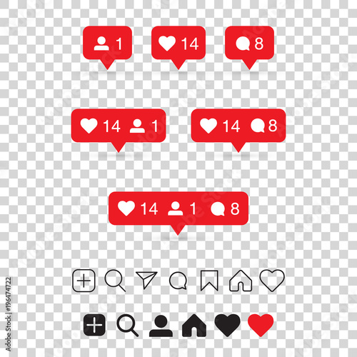 set of social media icons inspired by instagram like follower comment home camera user search eps10 vector illustration buy this stock vector and explore similar vectors at adobe stock adobe stock search eps10 vector illustration