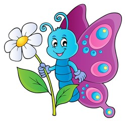 Naklejka Happy butterfly holding flower theme 1