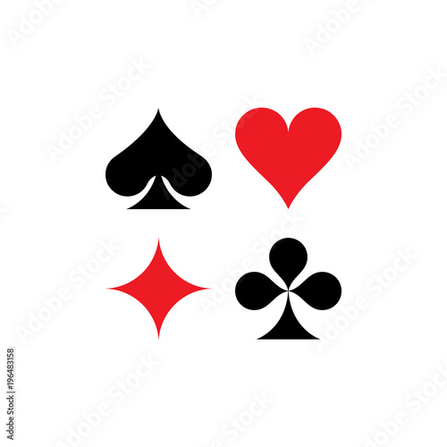spade clover card  Playing cards game symbols, isolated. Spade, Heart, Diamond ...