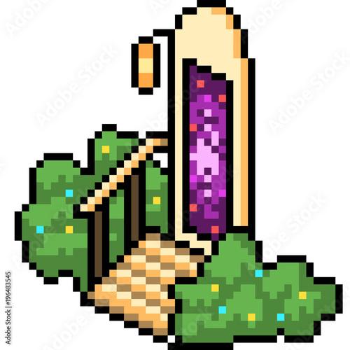 vector pixel art door portal fantasy - Buy this stock vector