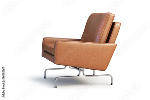 Fotografia  Brown leather armchair. Modern armchair 3d render