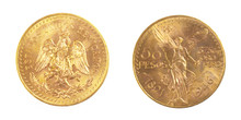 Gold Coin Of Mexiacan Pesos Front And Back Of Fine Gold, Isolated On Pure White Background