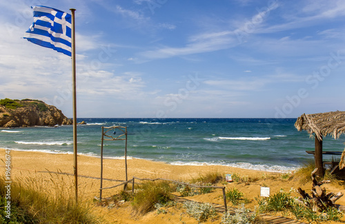 Poster Oceanië Mandraki beach on the Skiathos island, Greece