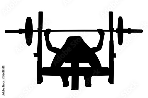 Female Athlete Powerlifter Bench Press Black Silhouette Buy This