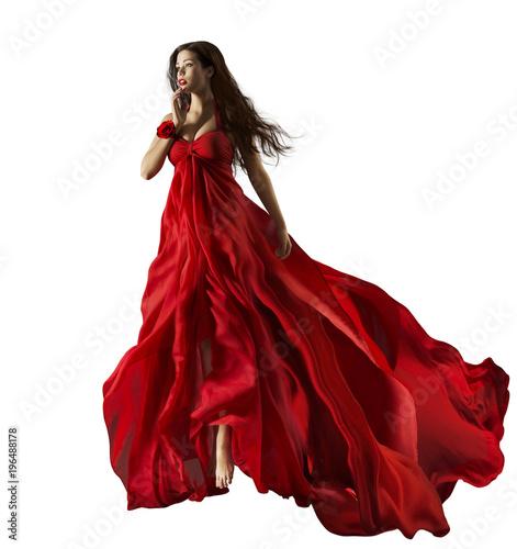 Fototapeta  Fashion Model in Red Dress, Beautiful Woman Portrait, Waving Gown Fabric Fly thr