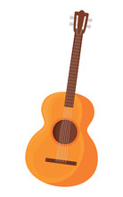 Acoustic Guitar Icon Over Whit...