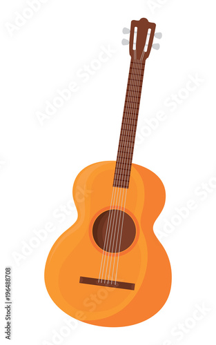 Fototapeta acoustic guitar icon over white background, colorful design