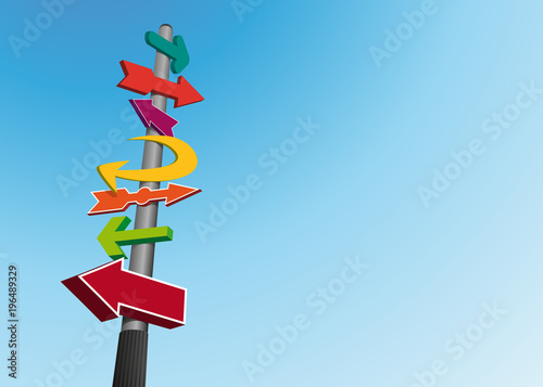 Fotografia, Obraz  orientation - direction - signalisation - poteau -indicateur - indication - flèc