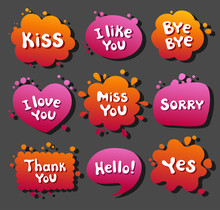 Collection Various Balloons With Message, Phrases, Words, Expressions, Text. Colored Blots. Bright Beautiful Colorful Clouds Dialog.