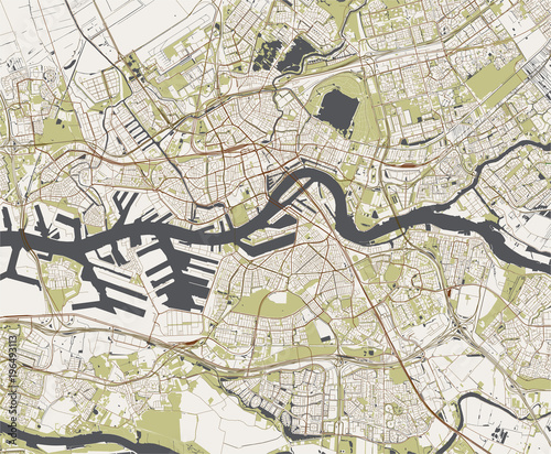 Photo Stands Rotterdam vector map of the city of Rotterdam, in South Holland, Netherlands