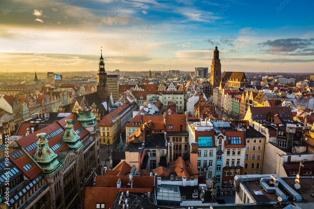 Fototapety, obrazy: Zachód słońca nad starym miastem we Wrocławiu, Silesia