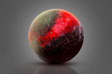Red Planet Earth On Grey Background. Ninth Planet Of The Solar System Opened. New Gas Giant. Planet Explosion. Apocalypse In Space, Destroying Cosmic Object.