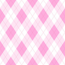 Pink Argyle Seamless Pattern Background.Diamond Shapes With Dashed Lines. Simple Flat Vector Illustration.