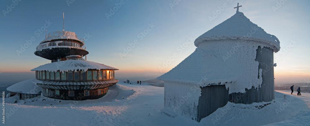 Fototapety, obrazy: Winter sunset in Karkonosze Mountains, Karkonosze, Krkonose Poland, Karpacz