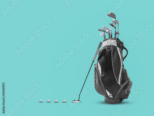 Poster Golf Golf bag ,golf ball and face balanced putter with Super Stroke putter grip on blue background