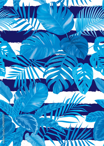 Tuinposter Vlinders Tropical seamless pattern with palm leaves on blue background. Vector set of exotic tropical garden for holiday invitations, greeting card and fashion design.