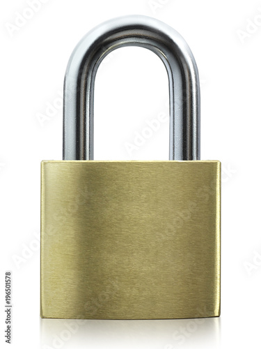 Metal padlock isolated on white background Poster