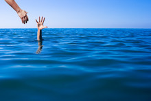 Help Hand For Drowning Man Lif...
