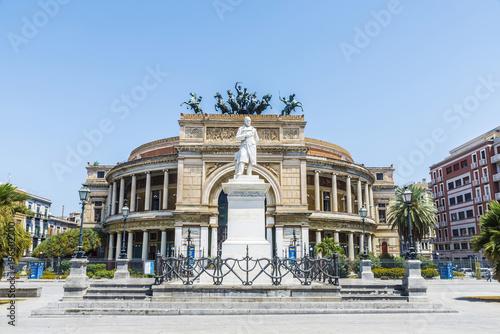 Stickers pour porte Opera, Theatre The Politeama Theatre in Palermo in Sicily, Italy