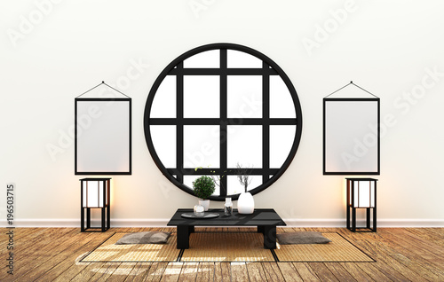 Foto op Aluminium Vogels in kooien Japanes room interior - minimal design with Tatami mat floor Japanese style - empty room interior, 3D rendering