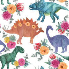 Watercolor Painting Seamless Pattern With Dinosaurs And Floral Bouquets