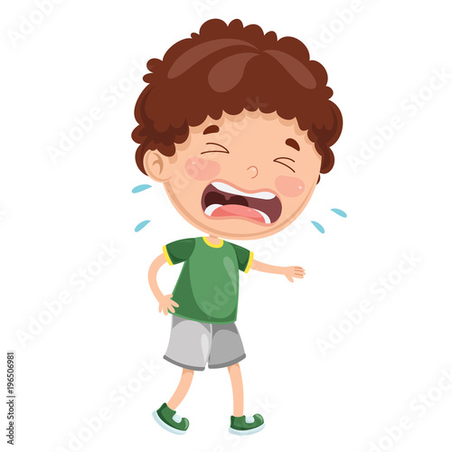 Fotografia Vector Illustration Of Kid Crying