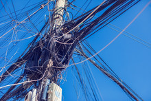 Messy Electric Wiring On The Pole
