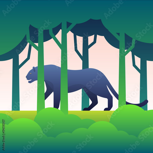 Photo  Black panther flat illustration in the forest