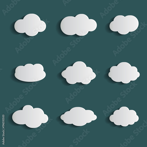 Stampe  Cloud vector icon set white color on blue background