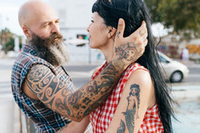 Mature Tattooed Hipster Man Wi...