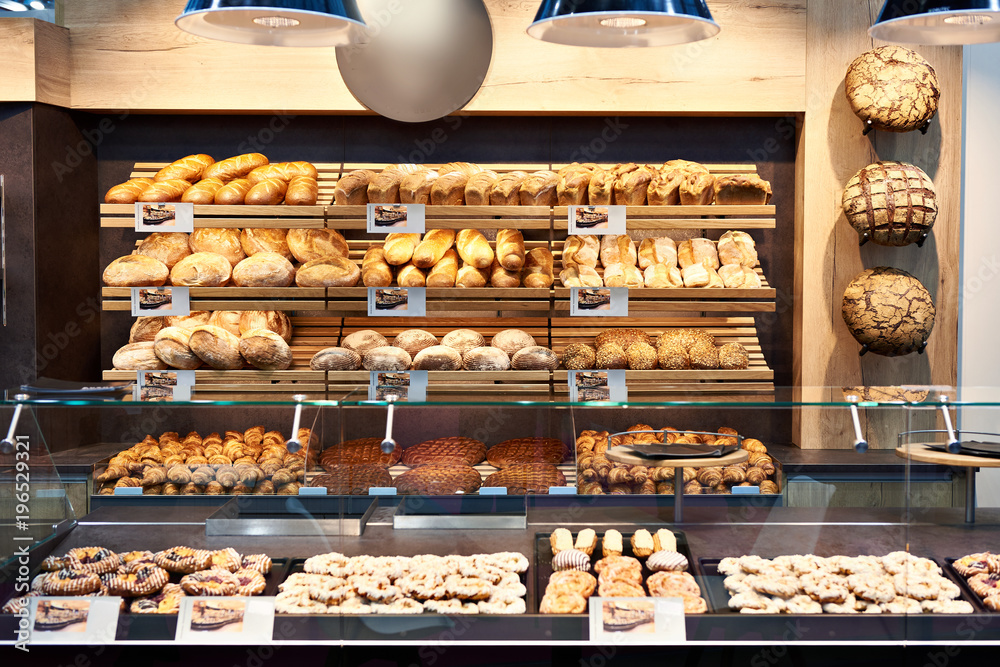 Fresh bread and pastries in bakery