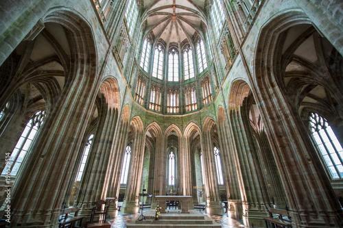 Photo sur Toile Con. Antique Abbey interior of Mont Saint-Michel, France