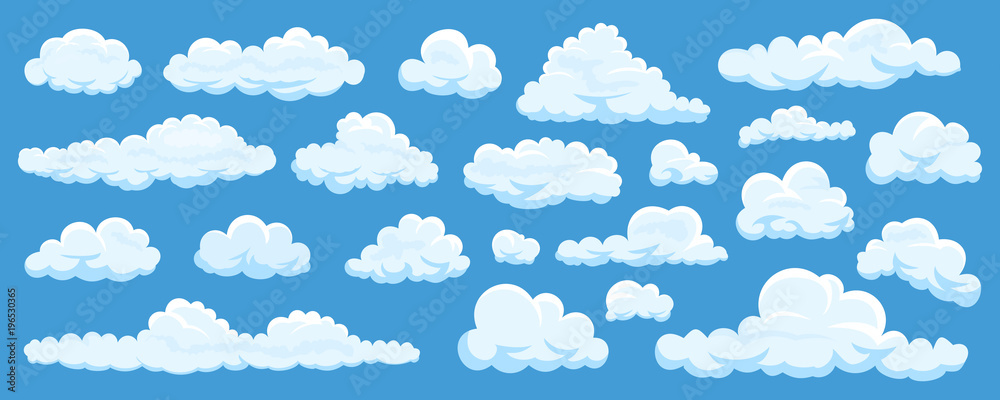 Fototapety, obrazy: Set of cartoon clouds
