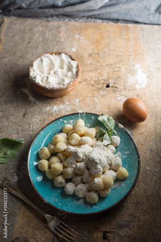 Raw gnocchi, typical Italian made of potato, flour and egg dish. Canvas Print