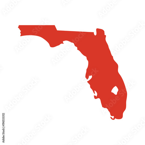 State of Florida vector map silhouette. Outline NY shape icon or contour map of the State of Florida. Fototapete