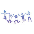 people group man and woman jumping happy vector illustration degrade color design