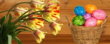 Easter Egg And Parrot Tulips