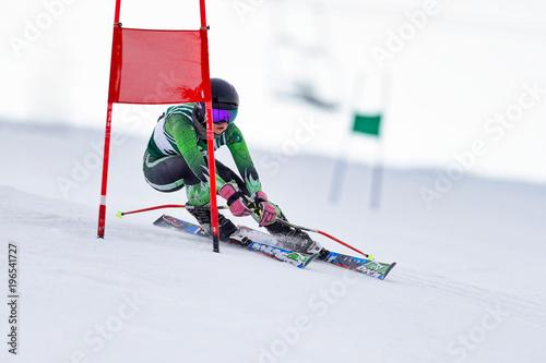 Fotografie, Obraz  Giant Slalom Skier at a Gate